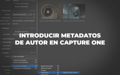 Introducir metadatos de autor en Capture One