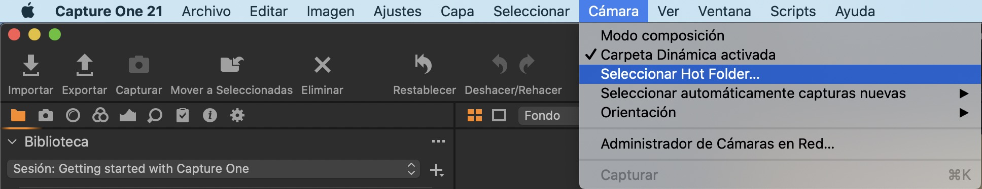 seleccionar hot folder capture one