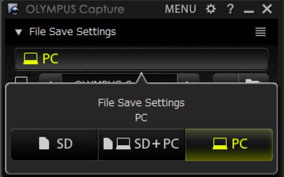 almacenamiento tethering pc olympus capture